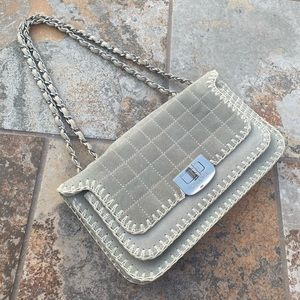 Chanel Suede Whipstitch Mademoiselle Flap Bag